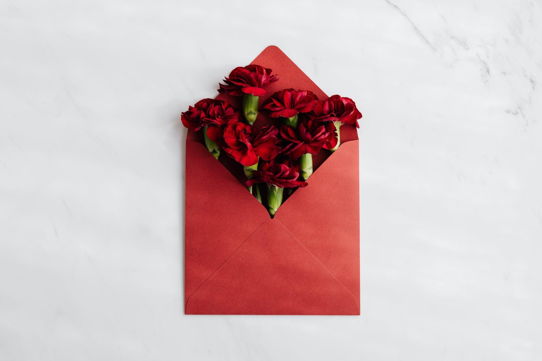 poštová obálka, kvety